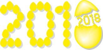 Numrera 2018 från gula ägg med den gula insidan för år 2018 Shell stock illustrationer