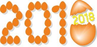 Numrera 2018 från orange ägg med den gula insidan för år 2018 Shell stock illustrationer
