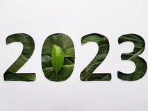 numrera 2023 med grön bladtextur och vitbakgrund royaltyfri fotografi