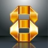 Numrera metall guld- band - 8 - åtta Arkivfoto