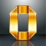 Numrera metall guld- band - 0 - noll Fotografering för Bildbyråer