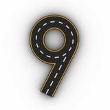 Numrera nio symboler av diagramen i form av en väg med den vita och gula linjen tolkning för teckning 3d Arkivfoton