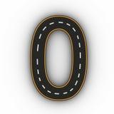 Numrera nollsymboler av diagramen i form av en väg med den vita och gula linjen tolkning för teckning 3d Royaltyfri Foto