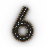 Numrera sex symboler av diagramen i form av en väg med den vita och gula linjen tolkning för teckning 3d Arkivbild
