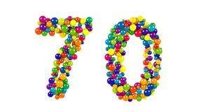 Numrera 70 som färgrika bollar över vit bakgrund Arkivbild