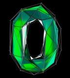 Numrera 0 zero in låg poly stil grön färg som isoleras på svart bakgrund 3d Royaltyfria Bilder