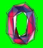 Numrera 0 zero in låg poly stil röd färg som isoleras på grön bakgrund 3d Royaltyfria Foton