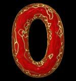 Numrera 0 zero in låg poly stil röd färg som isoleras på svart bakgrund 3d Fotografering för Bildbyråer