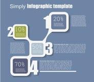 Numrerad enkelt infographic mall, blått Arkivbild