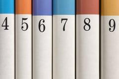 Numrerade böcker i rad Royaltyfria Bilder