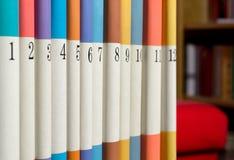 Numrerade böcker i rad Royaltyfri Bild
