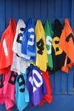Numrerade färg kodifierade fullblods- hästkapplöpninghaklappar för brudgum Arkivfoton