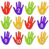 numrerade färgglada händer Royaltyfri Fotografi