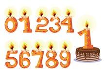 numrerade födelsedagstearinljus Royaltyfri Bild