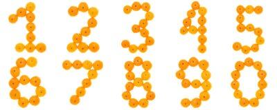 numrerar orangen Arkivbild