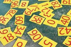 Numrerar serien som målas på den gröna väggen Royaltyfria Foton