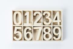 Numrerar tal från trä noll Arkivfoto