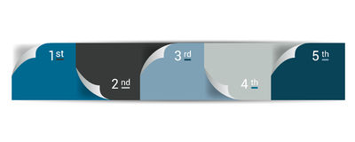 Numrerat steg-för-steg diagram Infographic lägenhetflik stock illustrationer