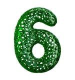 Numret 6 sex gjorde av grön plast- med isolerade abstrakta hål på vit bakgrund 3d Royaltyfri Foto