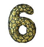 Numret 6 sex gjorde av guld- glänsande metallisk 3D med den isolerade svarta buren på vit Fotografering för Bildbyråer
