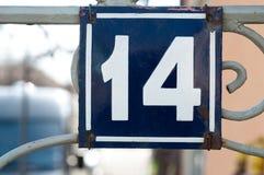 Numéro de maison, no. 14 Photos stock