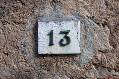 Numéro de maison tridimensionnel treize Photos libres de droits