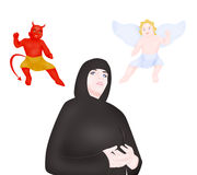 Nun, angel and devil Stock Photo