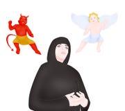 Nun, angel and devil Stock Photo