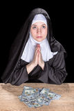 Nun asks for money Stock Image