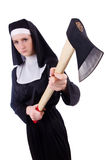 Nun with axe isolated Royalty Free Stock Photo
