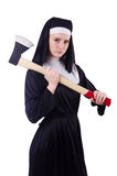 Nun with axe isolated Stock Images