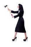 Nun with axe isolated Stock Photos