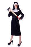 Nun with axe isolated Royalty Free Stock Images