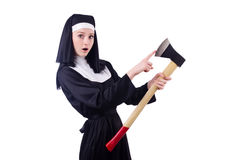 Nun with axe isolated Royalty Free Stock Image