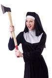 Nun with axe Stock Photography
