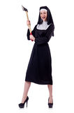 Nun with axe Stock Image