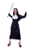 Nun with baseball bat Royalty Free Stock Photography