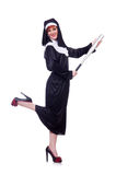 Nun with baseball bat Royalty Free Stock Image
