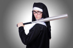 Nun with baseball Stock Images