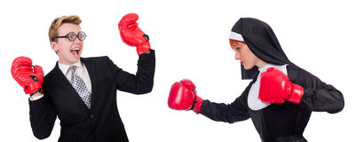 The nun with boxing gloves isolated on white Royalty Free Stock Photos