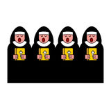 Nun choir. Catholic Religious woman. Monastic Singing.  Royalty Free Stock Photo