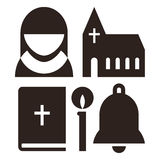 Nun, church, bible, candle and bell icons Royalty Free Stock Photography