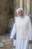 Nun in the church of the Holy Sepulcher Royalty Free Stock Image