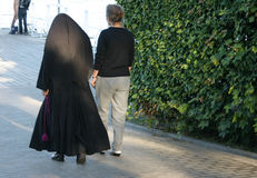 Nun and friend.  stock photo