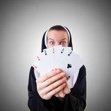 Nun in  gambling concept Royalty Free Stock Photos
