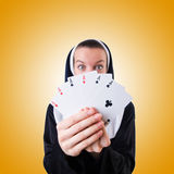 Nun in the gambling concept Royalty Free Stock Images