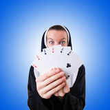 Nun in the gambling concept Royalty Free Stock Image