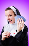 Nun in the gambling concept Royalty Free Stock Photography