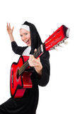 Nun with guitar isolated Royalty Free Stock Image