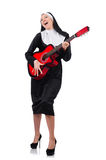 Nun with guitar isolated Royalty Free Stock Photography
